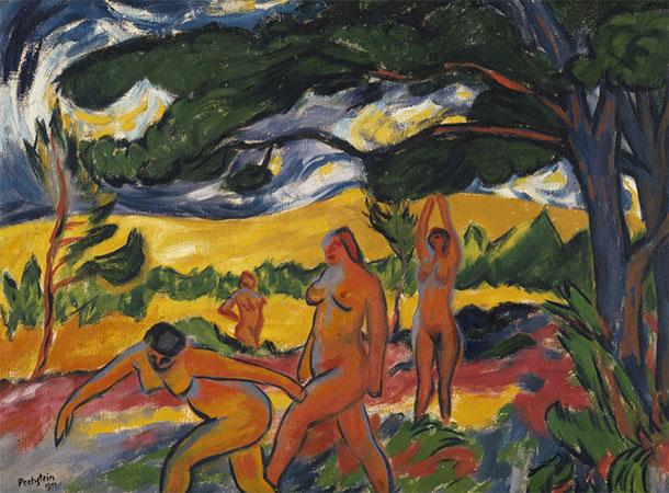 Макс Пехштейн. Под деревьями (Ню на пленэре). 1911 год